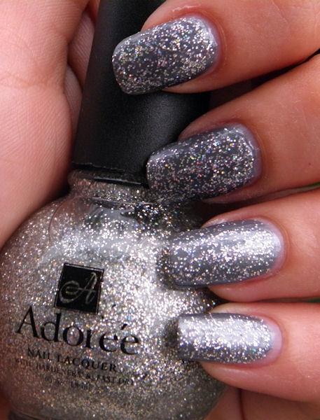 adoree silver glitter nail polish 504