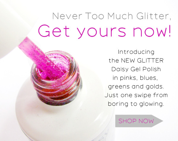 new glitter daisy gel nail polish